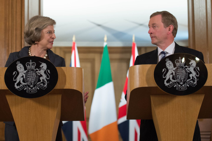 Britain's prime minister Theresa May and Irish Prime Minister Enda Kenny at a joint news conference.