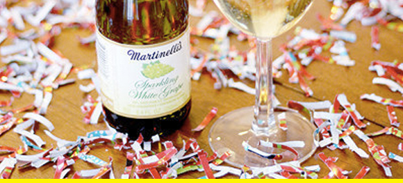 Wrapping paper confetti goes great with a glass of champagne.